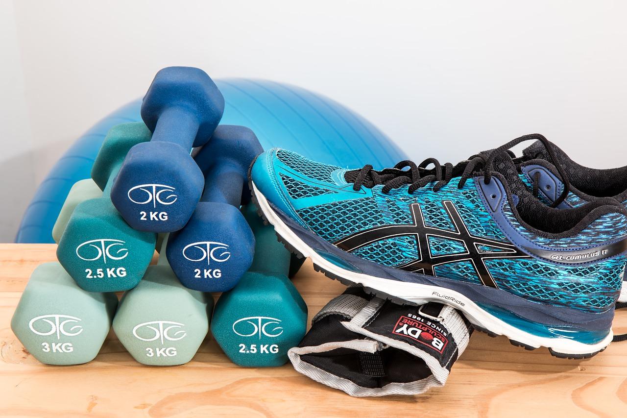 Hanteln von 2 bis 3 kg helfen dabei auch zuhause fit zu werden. Bild: Pixabay